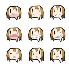 吹き出しキャラクター/表情セット/女の子