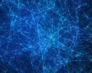 Background with blue cybernetic particles