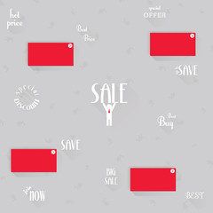 Set of sale labels and icons design with long shadow, vector ill