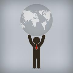 Businessman world control,  Vector illustration
