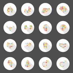 Body icons web long shadow design, can enable or disable shadows
