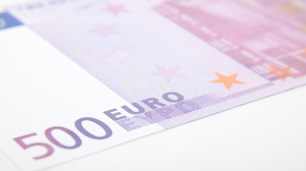 Detail shot of a 500 euro note.