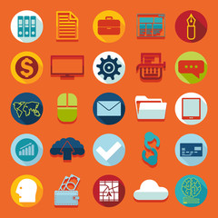 Set of business flat icons