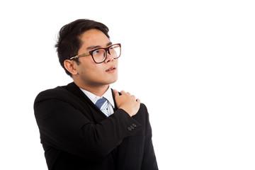Asian businessman got shoulder pain