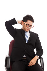 Asian businessman sit on office chair  with neck pain