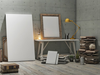 Mock up poster, loft studio, concrete wall background