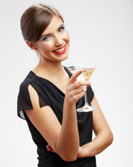 Woman drink wine. Ewening dress.