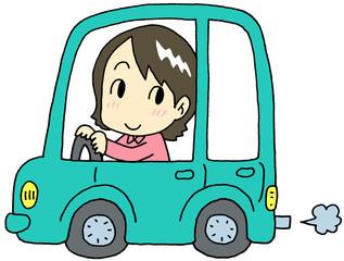 自動車 緑色 女性