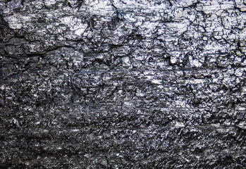 The surface of the black coal
