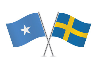 Swedish and Somalia flags. Vector illustration.