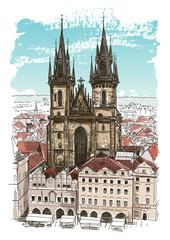 Vector drawing of Church in Prague, Czech Republic
