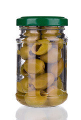 Green olives in a jar.