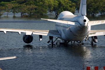 Airplane and flooded water damage at Airport Bangkok, Thailand