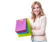 Happy smile blond woman with shopping bags