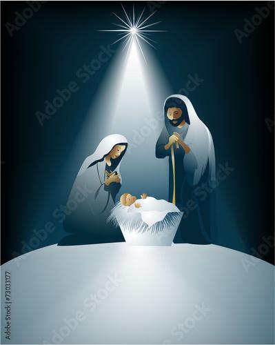 Cartoon nativity scene with holy family - 73033177