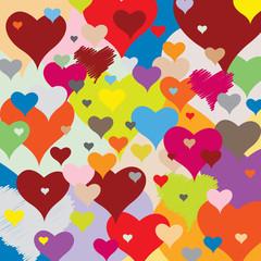Motif Multicolore- Coeurs - Accumulation Amour