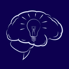 Symbol of the light bulb inside human brain