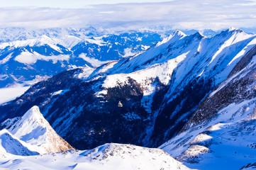 Winter morning at Austrian alps from the top of Kaprun glacier