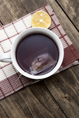 Hot winter tea on a wooden table