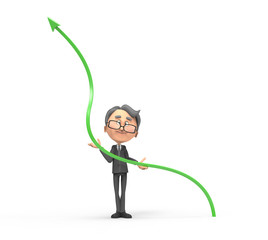 3d businessman with arrow sign positive