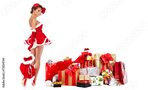 canvas print picture beautiful sexy girl wearing santa claus clothes with christmas g