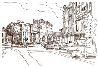 Vector drawing of central street of old european town, Vilnius,