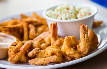 Fried Shrimp with Fries and Coleslaw