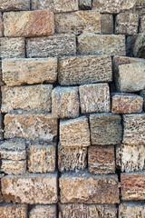 Stack of coquina bricks