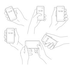 Hand with phone vector set