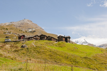 Zermatt, Bergdorf, Alpen, Schweizer Berge, Alm, Berghütte