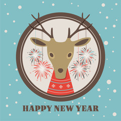 Happy new year 2015. Greeting card with reindeer.