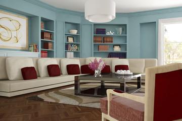 Wohnzimmer mit Sofa und Teppich