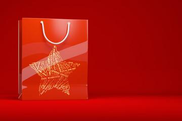 Rote Einkaufstasche zu Weihnachten als Geschenk
