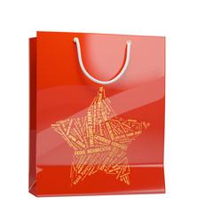Rote Tasche für Weihnachtsshopping
