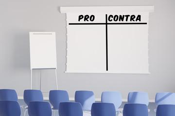 Pro und Contra als Liste im Seminar