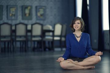 woman yoga at home