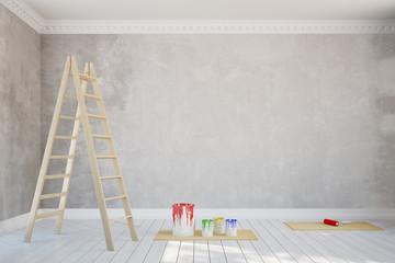 Renovierung einer Wand in einem Raum