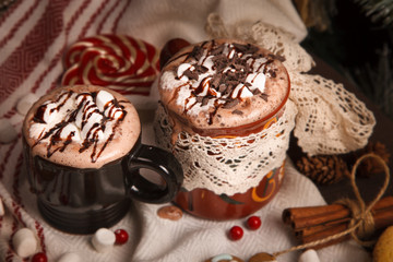 two cups of cocoa