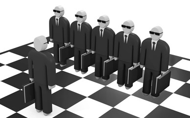 Abstract businessman stands on a chessboard before opposing team