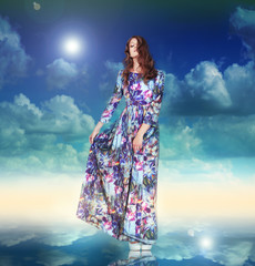 Imagination. Woman in Light Dress is Hovering among Clouds