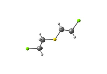 Sulfur mustard molecule isolated on white