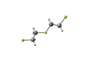 Sulfur mustard molecule isolated on white