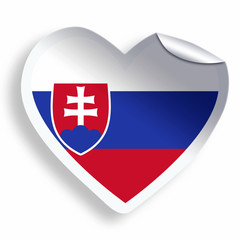 Heart sticker with flag of Slovakia isolated on white
