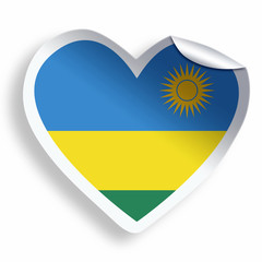 Heart sticker with flag of Rwanda isolated on white