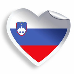 Heart sticker with flag of Slovenia isolated on white