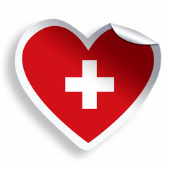 Heart sticker with flag of Switzerland isolated on white