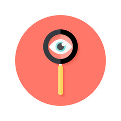 Search Magnifying Glass with Eye Circle Flat Icon