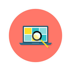 Internet Search Laptop with Magnifying Glass Circle Flat Icon