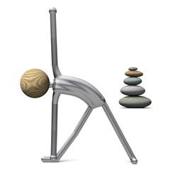 Yoga Position Dreieck mit Steinturm