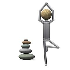 Yoga Position Baum mit Steinturm
